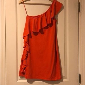Susana Monaco one shoulder ruffle mini dress.